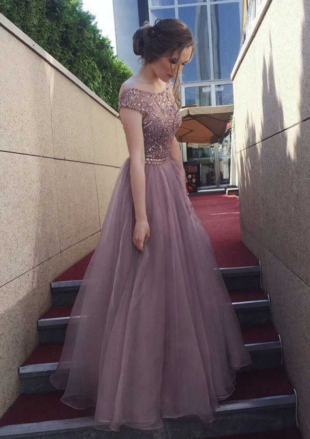 A-Line/Princess Bateau Sleeveless Long/Floor-Length Organza Prom Dress With Beading