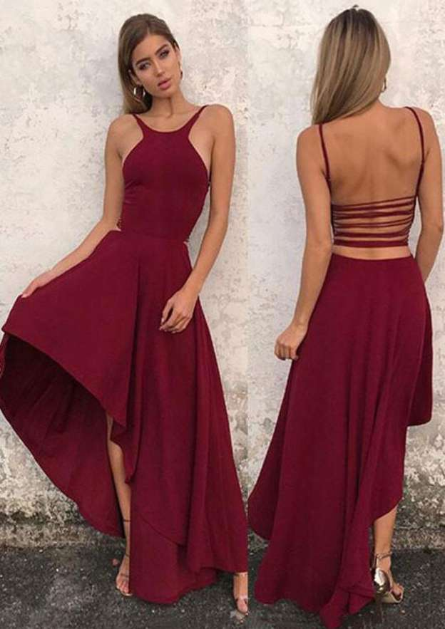 A-Line/Princess Scoop Neck Sleeveless Asymmetrical Elastic Satin Homecoming Dress