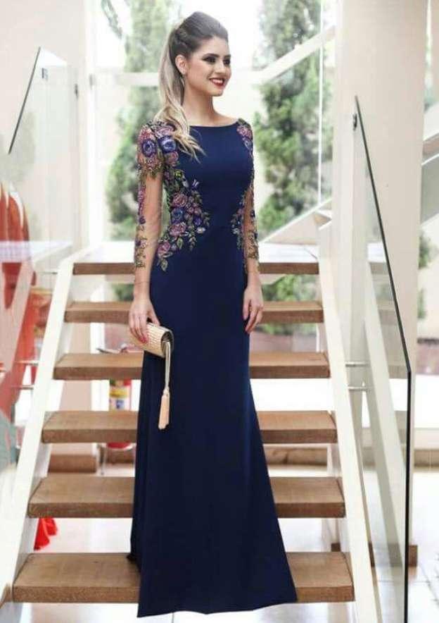 A-Line/Princess Bateau Full/Long Sleeve Long/Floor-Length Charmeuse Prom Dress With Flowers