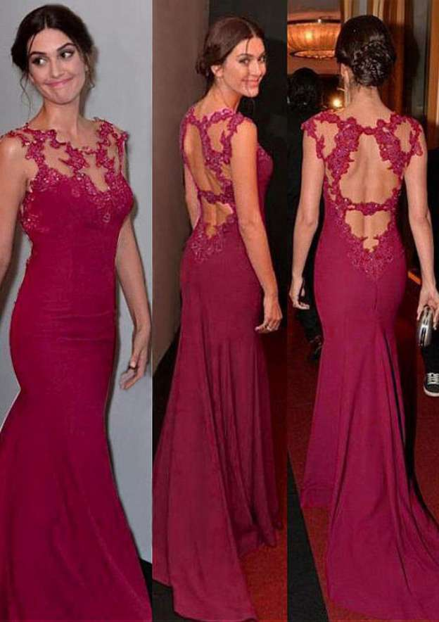 Trumpet/Mermaid Scoop Neck Sleeveless Sweep Train Jersey Prom Dress With Appliqued