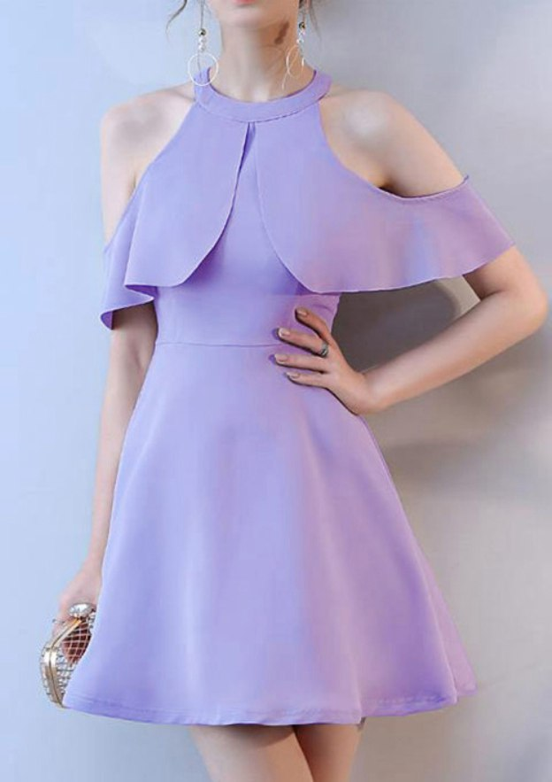 A-Line/Princess Scoop Neck Short Sleeve Short/Mini Satin Homecoming Dress