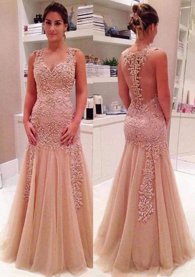 Sheath/Column V Neck Sleeveless Long/Floor-Length Tulle Prom Dress
