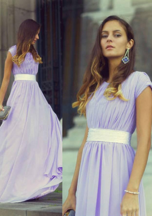 A-Line/Princess Scoop Neck Sleeveless Long/Floor-Length Chiffon Prom Dress With Pleated Waistband