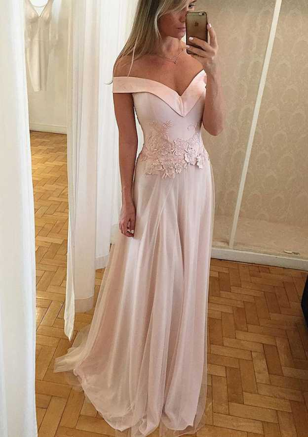 A-Line/Princess Off-The-Shoulder Sleeveless Sweep Train Tulle Prom Dress With Appliqued