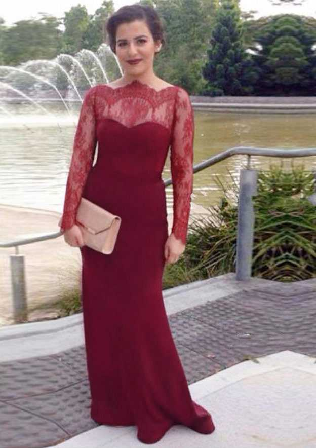 Sheath/Column Scalloped Neck Full/Long Sleeve Long/Floor-Length Satin Evening Dress With Lace