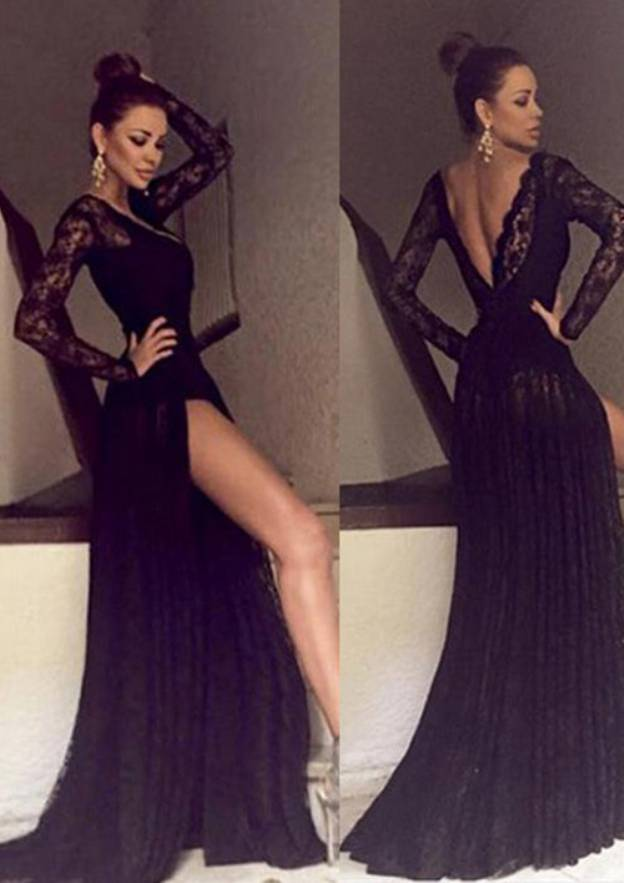 A-Line/Princess V Neck Full/Long Sleeve Sweep Train Lace Evening Dress