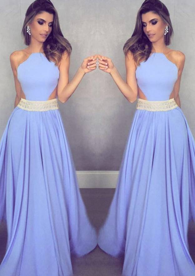 A-Line/Princess Scalloped Neck Sleeveless Long/Floor-Length Chiffon Prom Dress With Beading