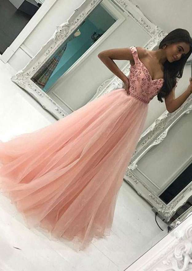 A-Line/Princess Off-The-Shoulder Sleeveless Long/Floor-Length Tulle Prom Dress With Appliqued Beading