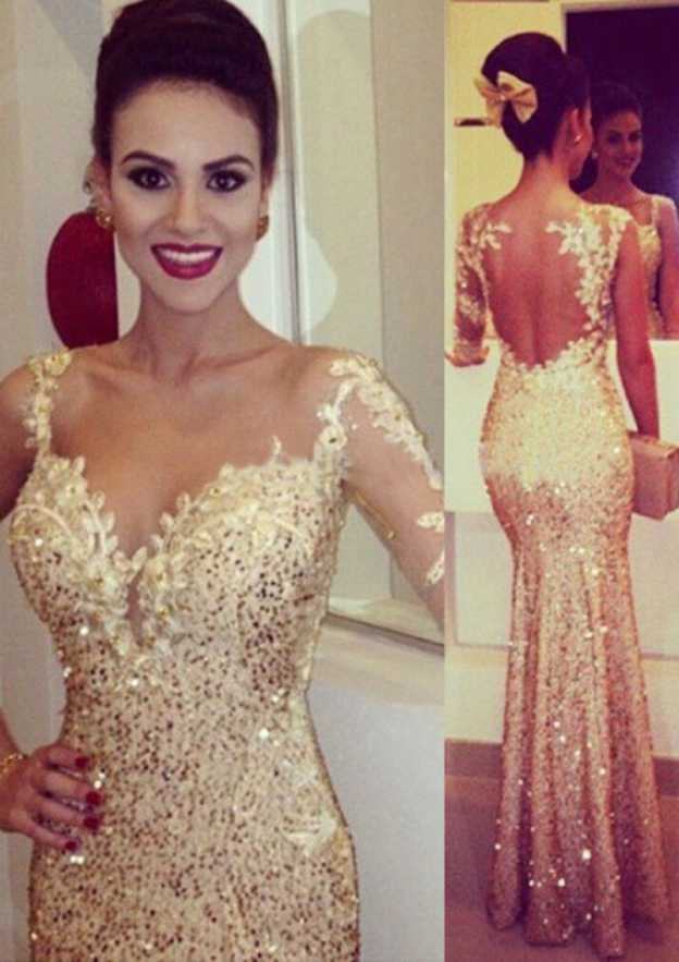 Sheath/Column Sweetheart Full/Long Sleeve Long/Floor-Length Sequined Prom Dress With Appliqued
