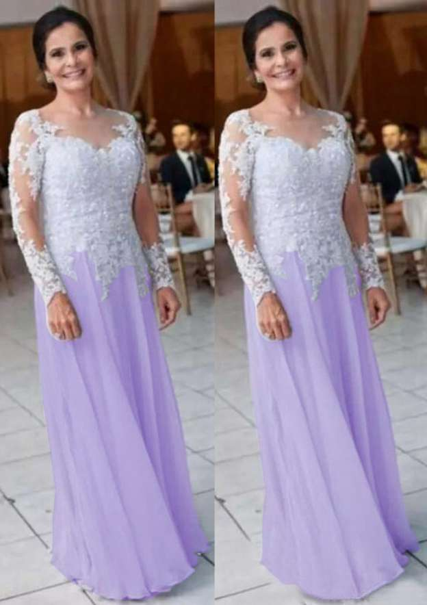 A-Line/Princess Scoop Neck Full/Long Sleeve Long/Floor-Length Chiffon Mother Of The Bride Dress With Lace