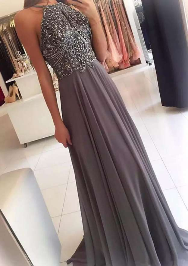 A-Line/Princess Scoop Neck Sleeveless Sweep Train Chiffon Prom Dress With Beading