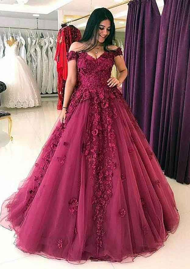 Ball Gown Off-The-Shoulder Sleeveless Long/Floor-Length Tulle Prom Dress With Appliqued Beading