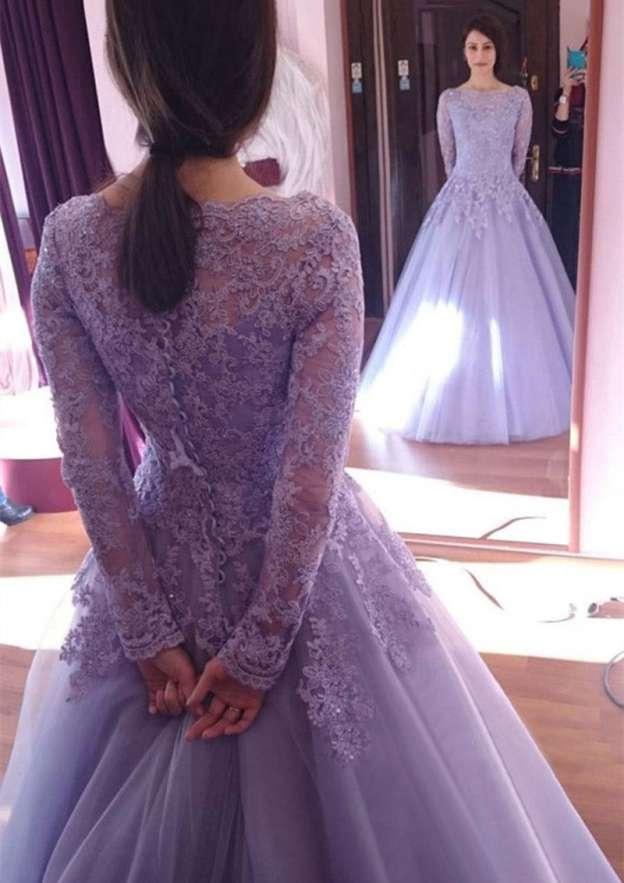 Ball Gown Bateau Full/Long Sleeve Long/Floor-Length Tulle Prom Dress With Lace