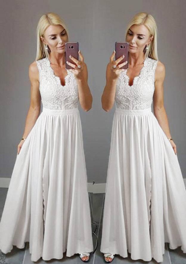 A-Line/Princess V Neck Sleeveless Long/Floor-Length Chiffon Prom Dress With Appliqued Split
