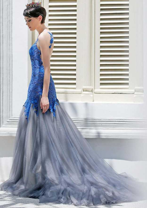 Trumpet/Mermaid Bateau Sleeveless Court Train Tulle Prom Dress With Lace Appliqued