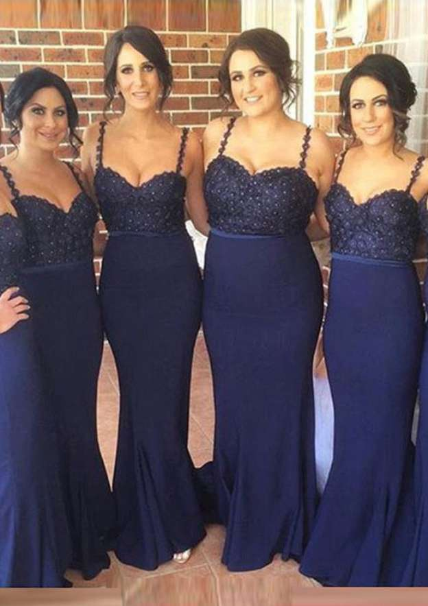 Sheath/Column Sweetheart Sleeveless Long/Floor-Length Elastic Satin Bridesmaid Dress With Lace