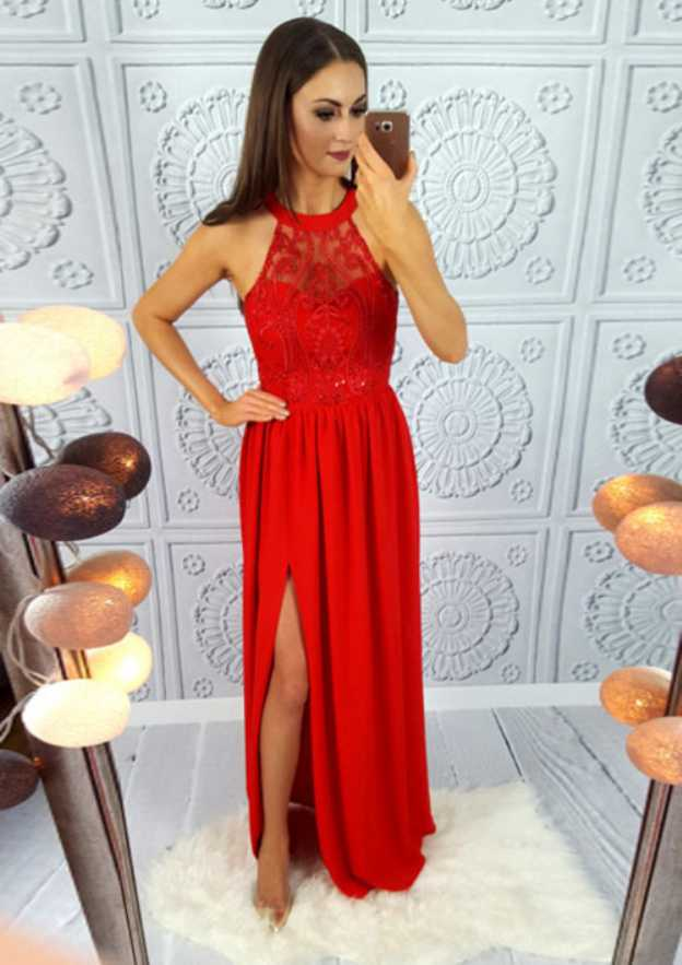 A-Line/Princess Scoop Neck Sleeveless Long/Floor-Length Chiffon Prom Dress With Split Sequins