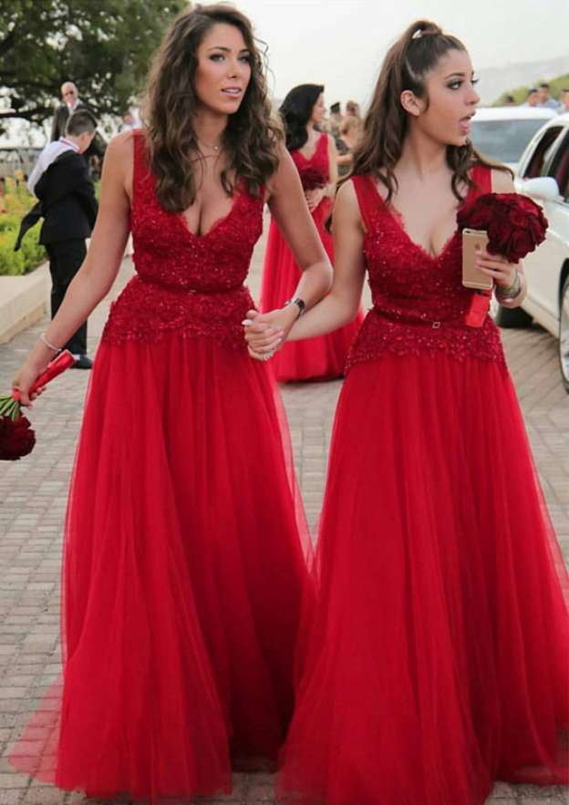 A-Line/Princess V Neck Sleeveless Long/Floor-Length Tulle Bridesmaid Dress With Lace