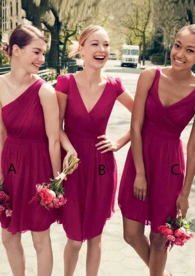 A-Line/Princess One-Shoulder Sleeveless Short/Mini Chiffon Bridesmaid Dresses