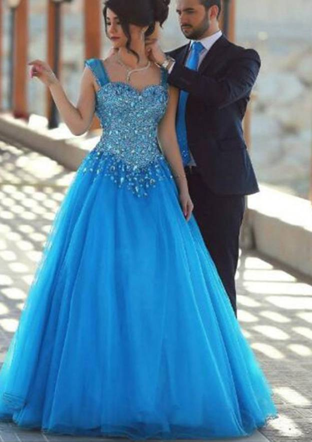 A-Line/Princess Sweetheart Sleeveless Long/Floor-Length Tulle Prom Dress With Crystal