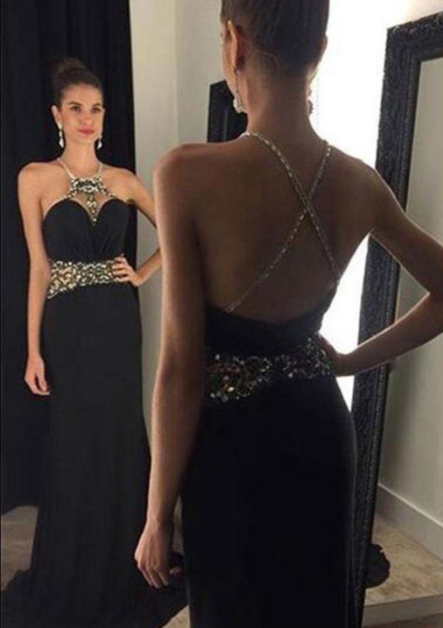 A-Line/Princess Scalloped Neck Sleeveless Sweep Train Chiffon Prom Dress With Beading