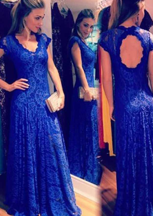 A-Line/Princess V Neck Short Sleeve Long/Floor-Length Lace Prom Dress