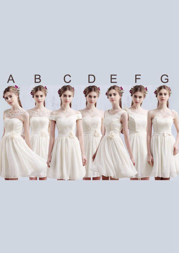 A-Line/Princess Scoop Neck Sleeveless Short/Mini Chiffon Bridesmaid Dress With Waistband