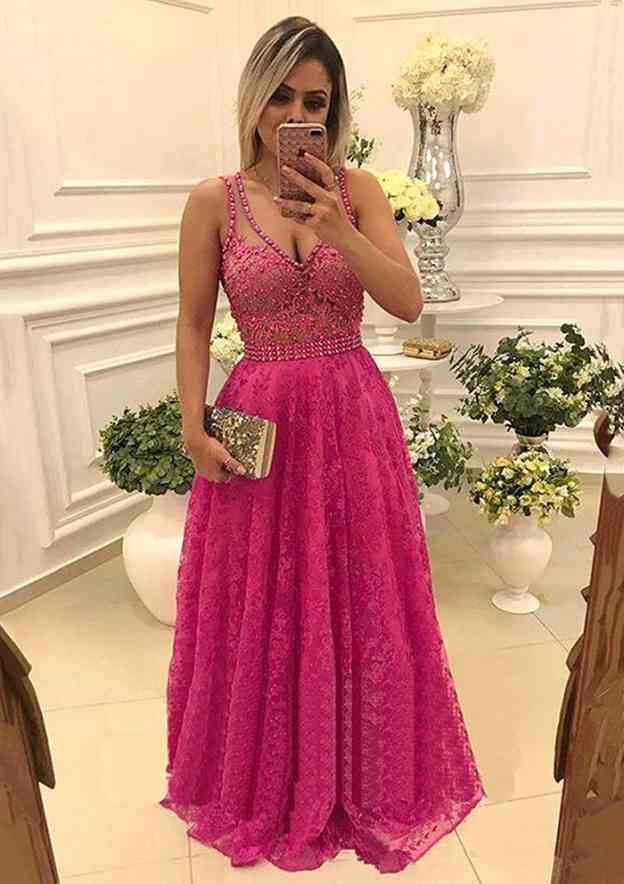 A-Line/Princess V Neck Sleeveless Long/Floor-Length Lace Prom Dress With Beading