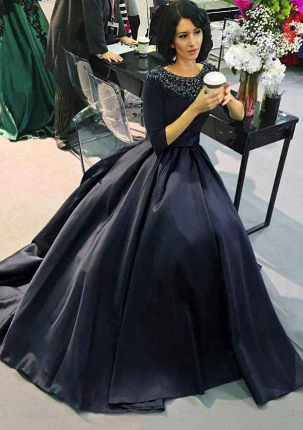 A-Line/Princess Bateau 3/4 Sleeve Long/Floor-Length Satin Prom Dress With Beading