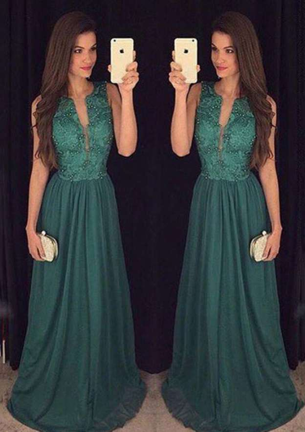 A-Line/Princess Scoop Neck Sleeveless Long/Floor-Length Chiffon Prom Dress With Beading Lace