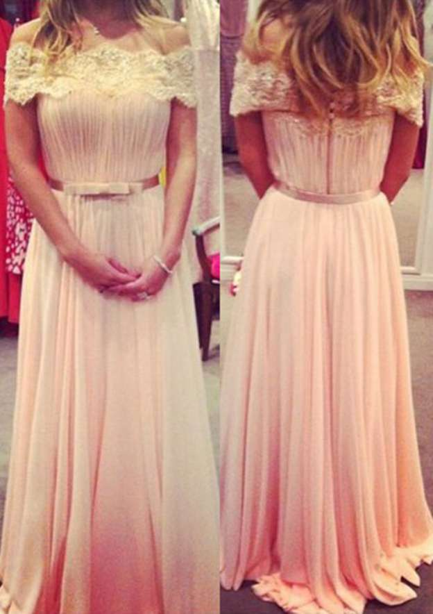 A-Line/Princess Off-The-Shoulder Short Sleeve Long/Floor-Length Chiffon Prom Dress With Lace Waistband