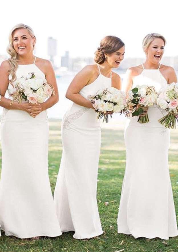 Sheath/Column Square Neckline Sleeveless Long/Floor-Length Chiffon Bridesmaid Dresses With Lace