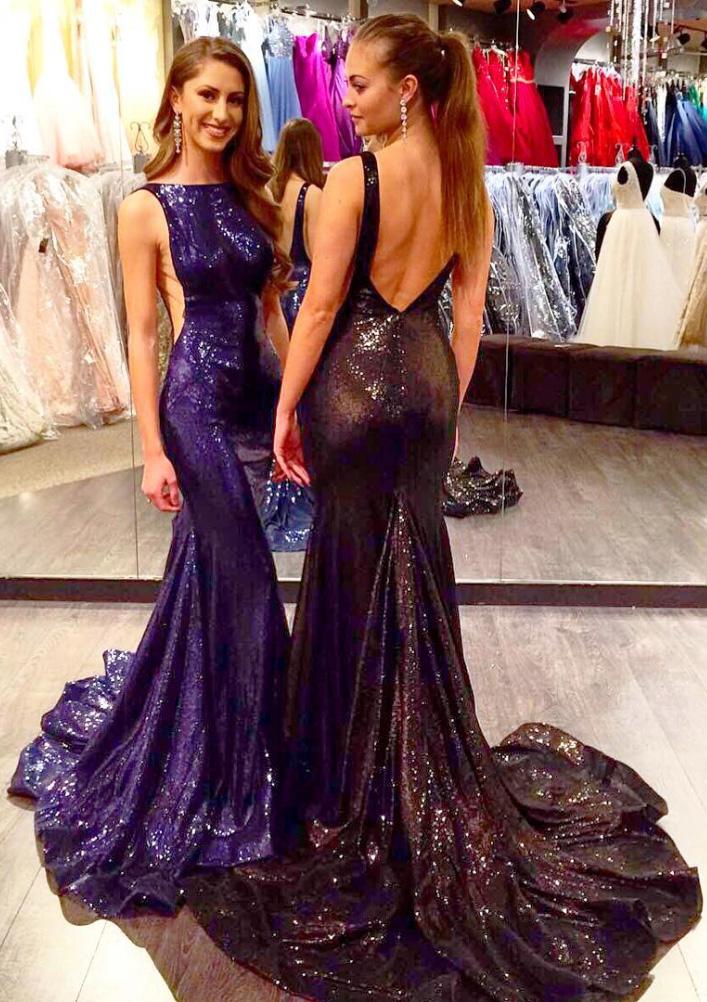 Trumpet/Mermaid Bateau Sleeveless Court Train Sequined Prom Dresses