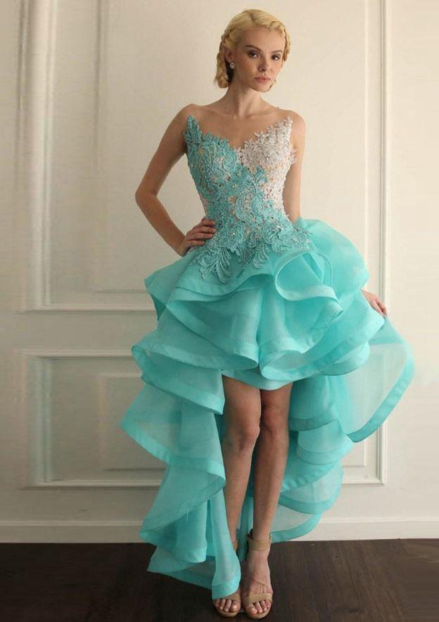 Ball Gown Bateau Sleeveless Asymmetrical Organza Prom Dress With Appliqued