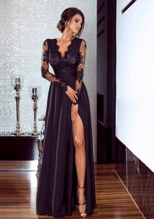 A-Line/Princess V Neck Full/Long Sleeve Long/Floor-Length Chiffon Prom Dresses With Split Lace
