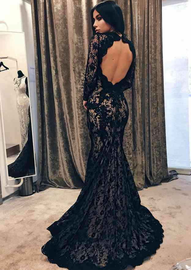 Trumpet/Mermaid Scoop Neck Full/Long Sleeve Sweep Train Lace Prom Dress