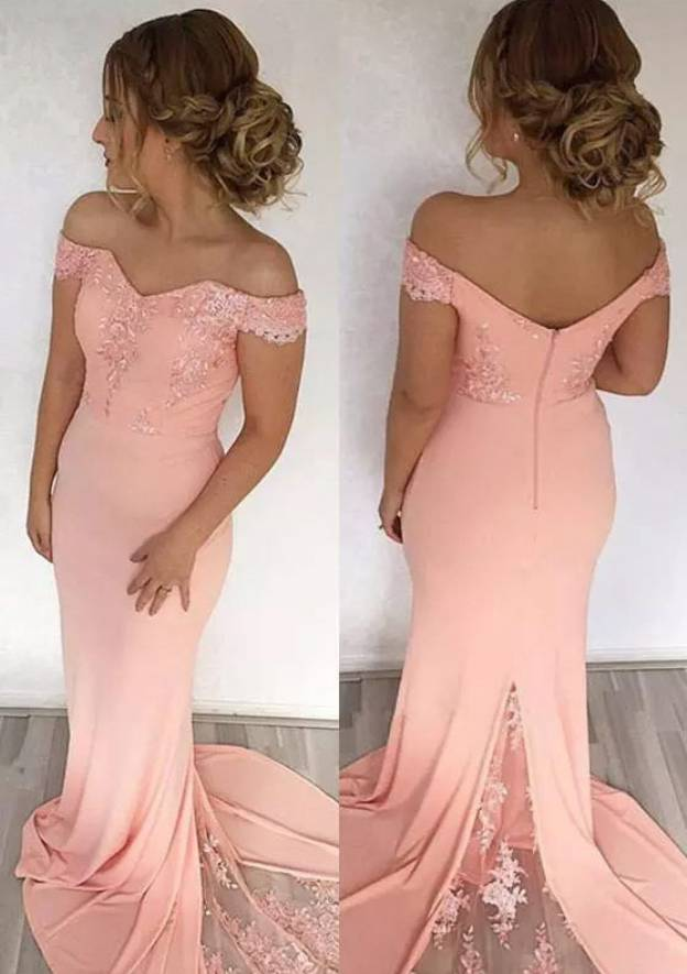 Trumpet/Mermaid Off-The-Shoulder Sleeveless Court Train Jersey Prom Dress With Lace Appliqued
