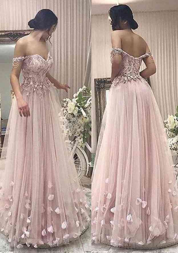 A-Line/Princess Off-The-Shoulder Sleeveless Long/Floor-Length Tulle Prom Dress With Appliqued Lace