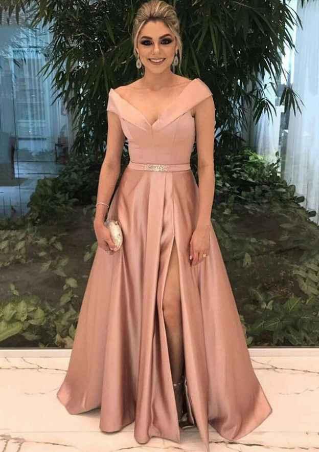 A-Line/Princess V Neck Sleeveless Long/Floor-Length Satin Prom Dress With Split Beading