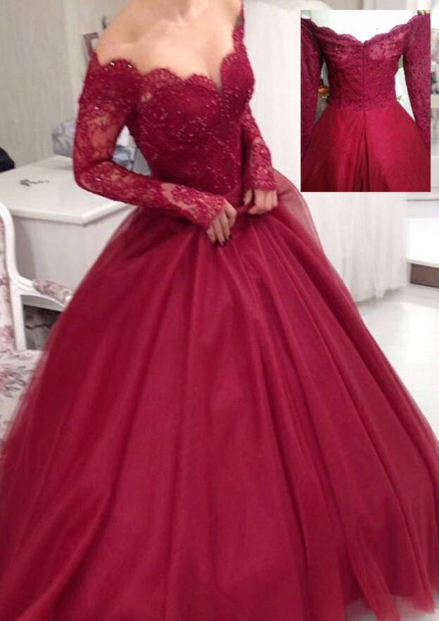 Ball Gown Off-The-Shoulder Full/Long Sleeve Long/Floor-Length Tulle Prom Dress With Lace