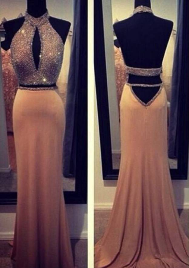 Sheath/Column Halter Sleeveless Court Train Jersey Evening Dresses With Beading