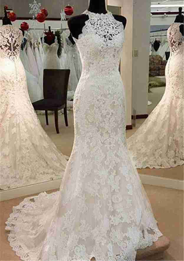 Trumpet/Mermaid Scoop Neck Sleeveless Court Train Lace Wedding Dress With Appliqued
