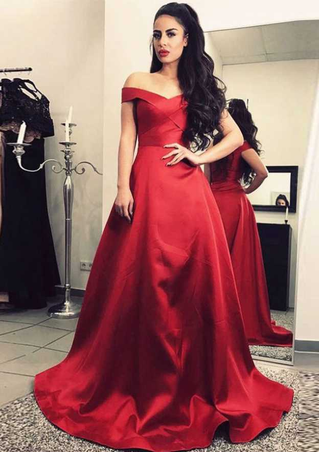 A-Line/Princess Off-The-Shoulder Sleeveless Sweep Train Satin Prom Dress