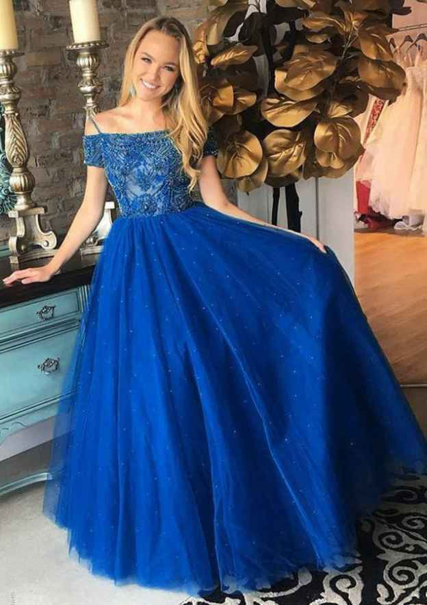 A-Line/Princess Off-The-Shoulder Short Sleeve Sweep Train Tulle Sleeves Open Back Sparkle & Shine Prom Dress With Beading
