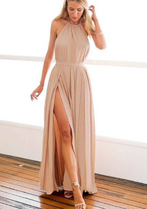 A-Line/Princess Halter Sleeveless Long/Floor-Length Chiffon Prom Dress With Split
