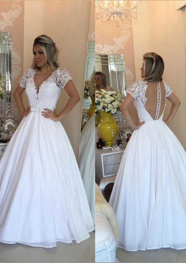 Ball Gown V Neck Short Sleeve Long/Floor-Length Chiffon Wedding Dress With Beading Lace