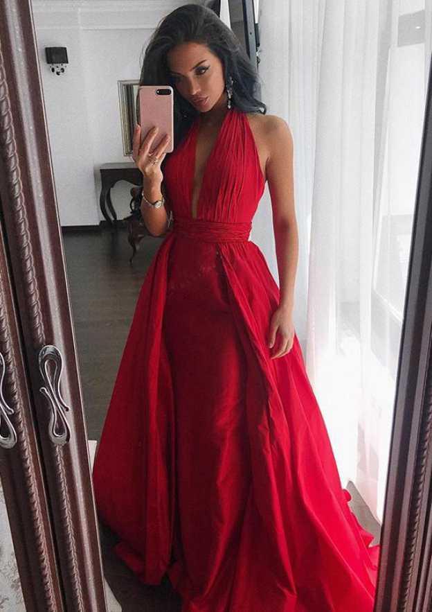 A-Line/Princess Halter Sleeveless Sweep Train Satin Prom Dress With Pleated