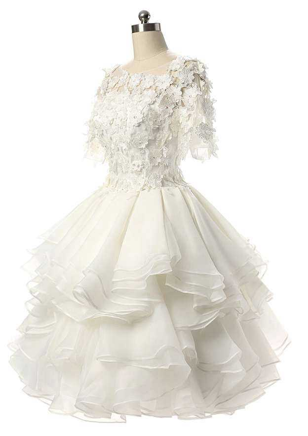 Ball Gown Bateau Short Sleeve Knee-Length Organza Wedding Dress With Appliqued