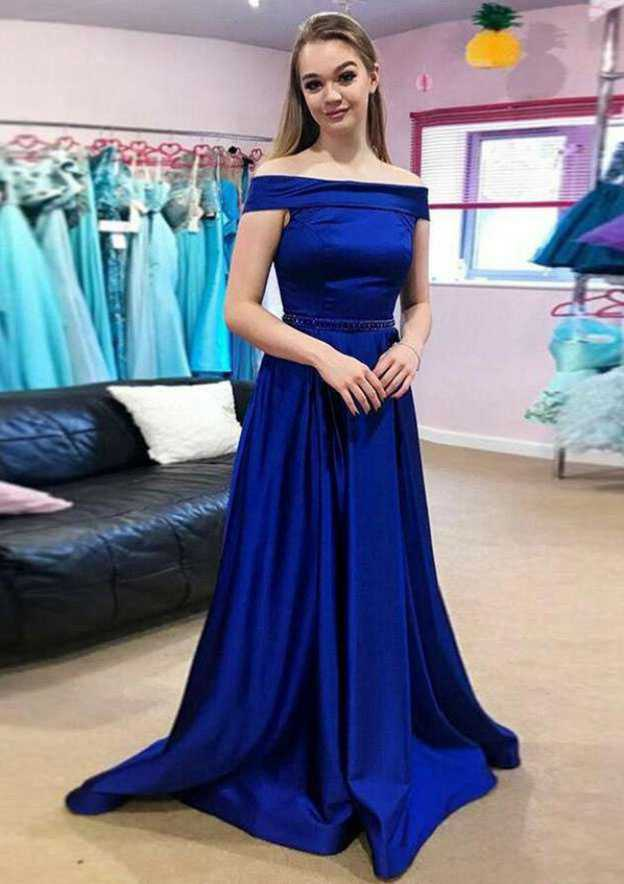 A-Line/Princess Off-The-Shoulder Sleeveless Sweep Train Satin Prom Dress With Beading
