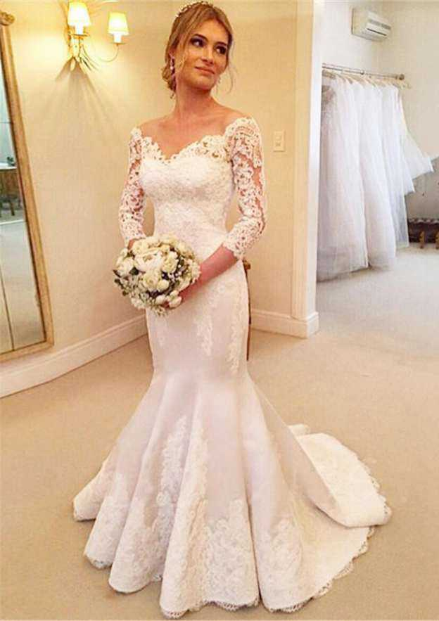 Trumpet/Mermaid Off-The-Shoulder Full/Long Sleeve Sweep Train Satin Wedding Dress With Appliqued Lace